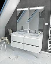 Meuble salle de bain 130 cm blanc - avec tiroirs -