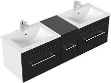 Meuble salle de bain double vasque Roma noir