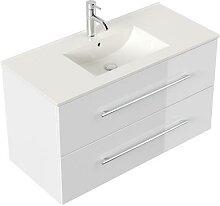 Meuble salle de bain Firenze 100 en blanc brillant