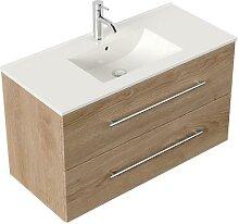 Meuble salle de bain Firenze 100 en décor chêne
