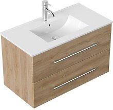 Meuble salle de bain Firenze 90 en décor chêne