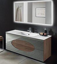 Meuble salle de bain suspendu 120 LIA base teck