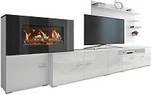 Meuble salon+cheminée électrique,5 niv.de