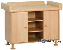 Meuble table à langer deux places en bois h17502
