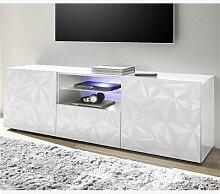 Meuble TV 180 cm design blanc laqué ANTONIO