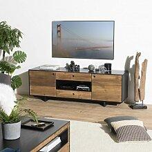 Meuble tv 2 portes 2 tiroirs 1 niche bois Pin