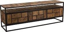 Meuble TV 3 tiroirs 1 étagère bois teck recyclé
