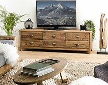 Meuble TV 6 tiroirs bois Pin recyclé - Naturelle