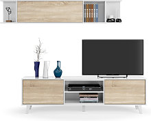 Meuble TV ABBY 2 portes, 2 niches et étagère