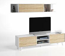 Meuble TV avec étagère murale blanc brillant et