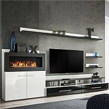 Meuble TV avec rangement et cheminée noir laqué