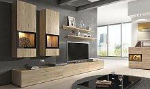 Meuble TV avec rangements muraux coloris chêne -