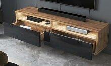 Meuble TV avec tiroir : 200 cm / Chêne wotan /