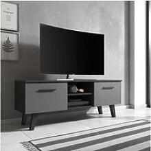 Meuble tv / banc tv - pirphal - 140 cm - noir mat