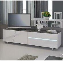Meuble TV blanc laqué avec éclairage à LED