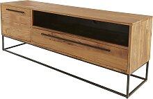 Meuble TV bois et métal industriel 165 cm - Logan