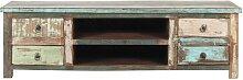 Meuble TV en bois recyclé effet vieilli L 140 cm