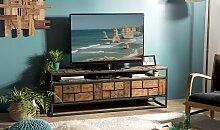 Meuble TV en métal noir et teck recyclé - Thekku
