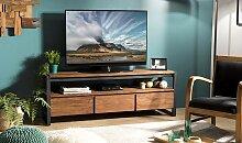 Meuble TV en teck recyclé et métal 3 tiroirs -