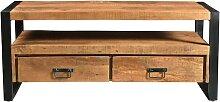 Meuble TV HARLEM - 2 tiroirs & 1 niche - Bois de