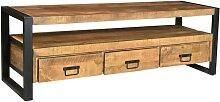 Meuble TV HARLEM - 3 tiroirs & 1 niche - Bois de