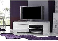 Meuble TV hifi blanc laqué design ELEONORE