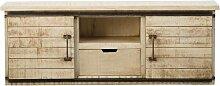 Meuble TV industriel portes coulissantes en bois