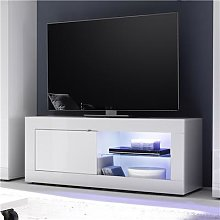 Meuble TV lumineux blanc laqué design FELINO
