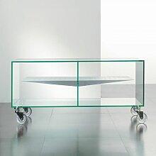 Meuble TV MALTA en verre étagère centrale