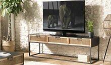 Meuble TV métal et cannage rotin - Palomo