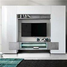 Meuble tv mural blanc laqué et effet béton EROS