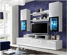 Meuble TV Mural Design Mini 200cm Blanc - Blanc