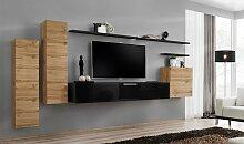 Meuble TV mural minimaliste coloris chêne et noir