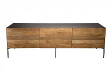 Meuble TV portes tiroir bois teck recyclé métal