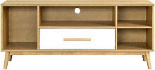 Meuble TV scandinave bois clair et blanc 1 tiroir