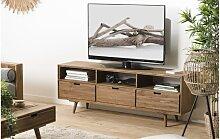 Meuble TV scandinave en sapin 3 tiroirs 3 niches -