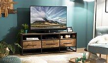 Meuble TV style atelier teck recyclé et métal -