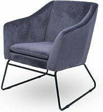 Meubler Design - Fauteuil velours gris et pieds