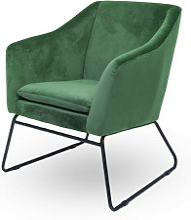 Meubler Design - Fauteuil velours vert et pieds