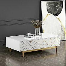 MEUBLER DESIGN Table Basse Design Blanc Pied Or