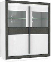 Meubletmoi - Armoire vitrine 2 portes bois blanc