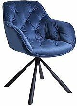 Meubletmoi Chaise/Fauteuil pivotant Velours Bleu -