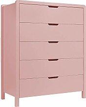 Meubletmoi Commode 5 tiroirs Rose - Chambre Enfant
