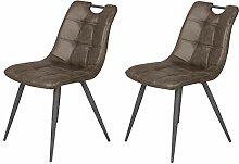 Meubletmoi Lot de 2 chaises Aspect Simili Marron