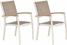 Meubletmoi Lot de 2 chaises de Jardin Beige
