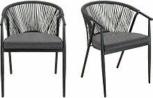 Meubletmoi - Lot de 2 chaises de jardin noir en