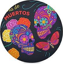 Mexique Art Crâne Papillon Sets De Table Rond