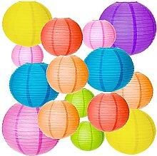 MEZOOM - Lot de 18 lanternes chinoises rondes en