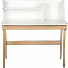 Miliboo - Bureau enfant blanc et bois 105 cm KUNG