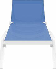 Miliboo - Chaise longue ajustable bleue à